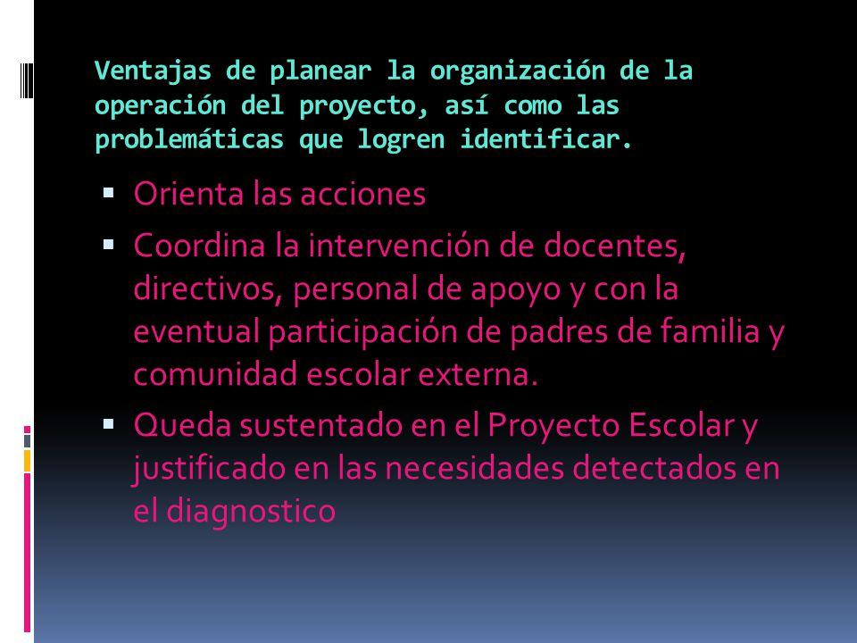 Ventajas de planear la organización de la operación del proyecto, así como las problemáticas que logren identificar. Orienta las acciones Coordina la