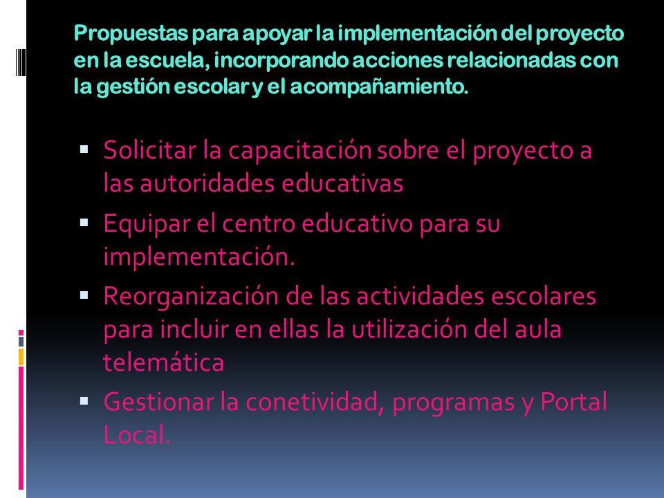 Propuestas para apoyar la implementación del proyecto en la escuela, incorporando acciones relacionadas con la gestión escolar y el acompañamiento. So