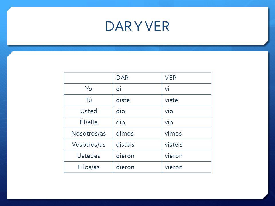 HABER Hay (presente)>hubo (pretérito)