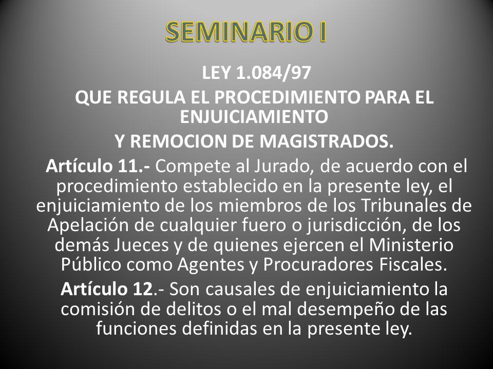 LEY 1.084/97 QUE REGULA EL PROCEDIMIENTO PARA EL ENJUICIAMIENTO Y REMOCION DE MAGISTRADOS. Artículo 11.- Compete al Jurado, de acuerdo con el procedim