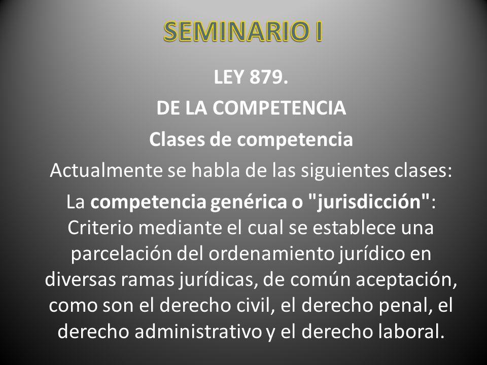 LEY 879. DE LA COMPETENCIA Clases de competencia Actualmente se habla de las siguientes clases: La competencia genérica o