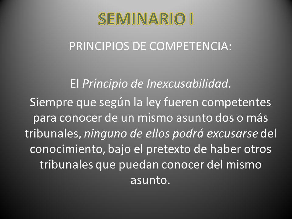 PRINCIPIOS DE COMPETENCIA: El Principio de Inexcusabilidad. Siempre que según la ley fueren competentes para conocer de un mismo asunto dos o más trib