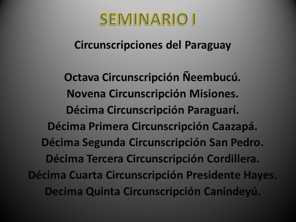 Circunscripciones del Paraguay Octava Circunscripción Ñeembucú. Novena Circunscripción Misiones. Décima Circunscripción Paraguarí. Décima Primera Circ