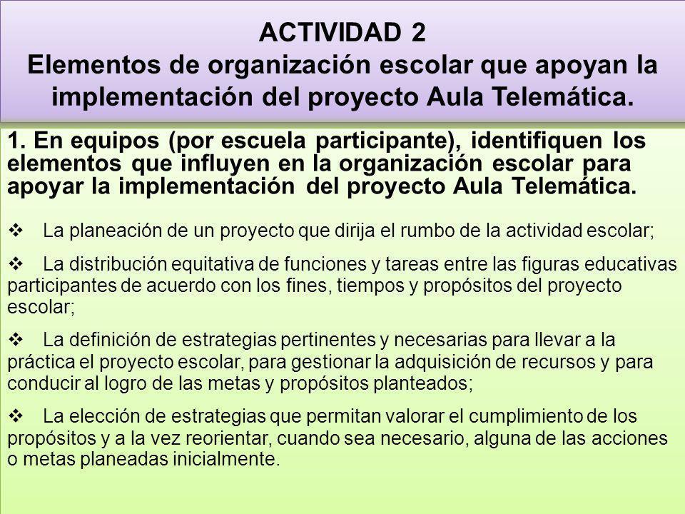 ACTIVIDAD 2 Elementos de organización escolar que apoyan la implementación del proyecto Aula Telemática. 1. En equipos (por escuela participante), ide