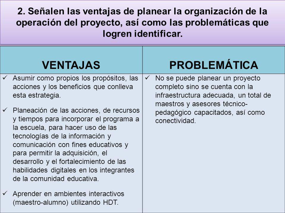 2. Señalen las ventajas de planear la organización de la operación del proyecto, así como las problemáticas que logren identificar. VENTAJAS PROBLEMÁT