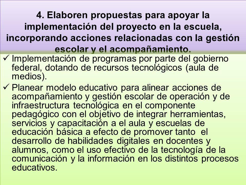4. Elaboren propuestas para apoyar la implementación del proyecto en la escuela, incorporando acciones relacionadas con la gestión escolar y el acompa