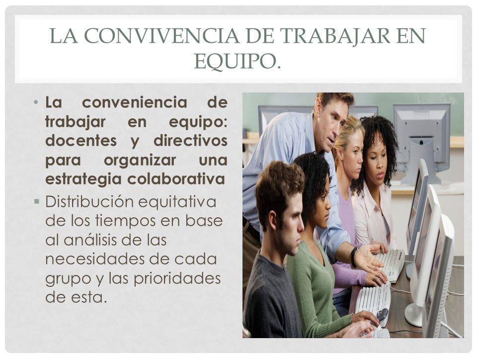 LA CONVIVENCIA DE TRABAJAR EN EQUIPO. La conveniencia de trabajar en equipo: docentes y directivos para organizar una estrategia colaborativa Distribu