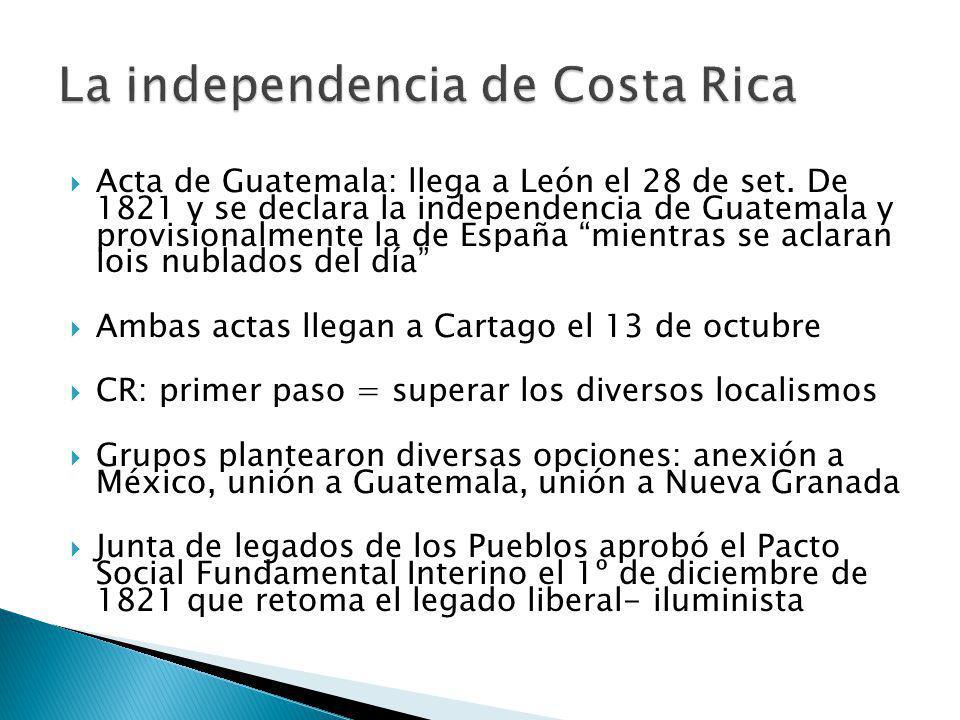 Acta de Guatemala: llega a León el 28 de set.