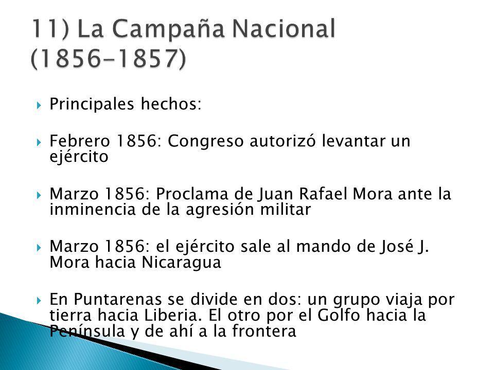 Principales hechos: Febrero 1856: Congreso autorizó levantar un ejército Marzo 1856: Proclama de Juan Rafael Mora ante la inminencia de la agresión militar Marzo 1856: el ejército sale al mando de José J.