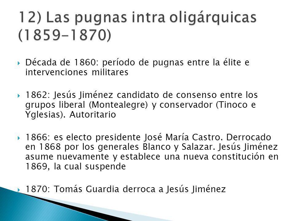 Década de 1860: período de pugnas entre la élite e intervenciones militares 1862: Jesús Jiménez candidato de consenso entre los grupos liberal (Montealegre) y conservador (Tinoco e Yglesias).