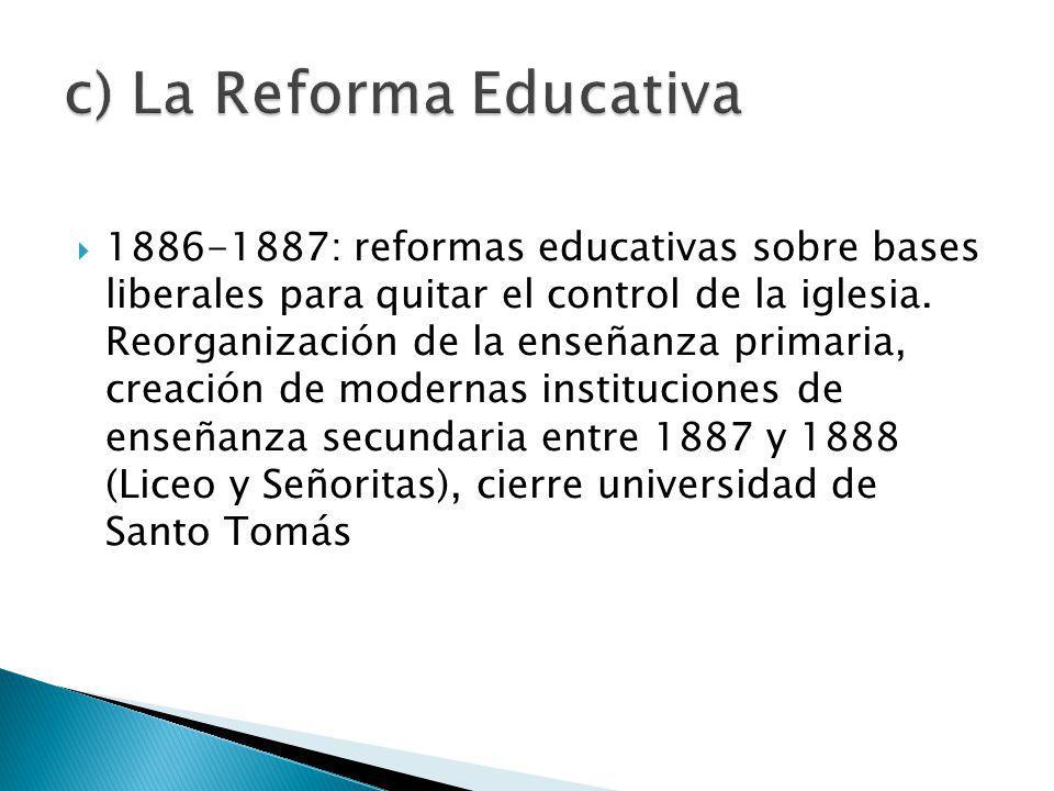 1886-1887: reformas educativas sobre bases liberales para quitar el control de la iglesia.