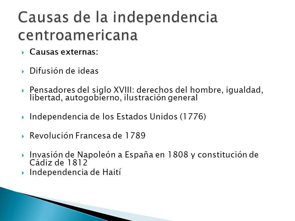 Causas externas: Difusión de ideas Pensadores del siglo XVIII: derechos del hombre, igualdad, libertad, autogobierno, ilustración general Independencia de los Estados Unidos (1776) Revolución Francesa de 1789 Invasión de Napoleón a España en 1808 y constitución de Cádiz de 1812 Independencia de Haití