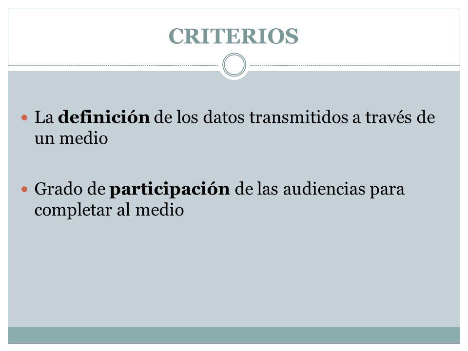 CRITERIOS La definición de los datos transmitidos a través de un medio Grado de participación de las audiencias para completar al medio