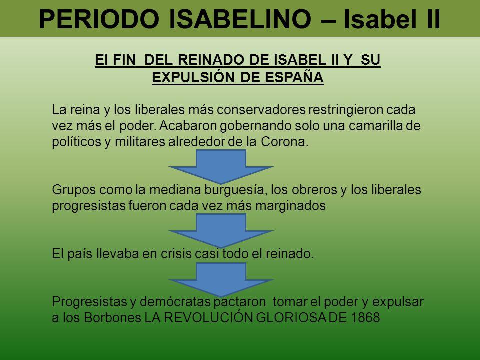 PERIODO ISABELINO – Isabel II El FIN DEL REINADO DE ISABEL II Y SU EXPULSIÓN DE ESPAÑA La reina y los liberales más conservadores restringieron cada v