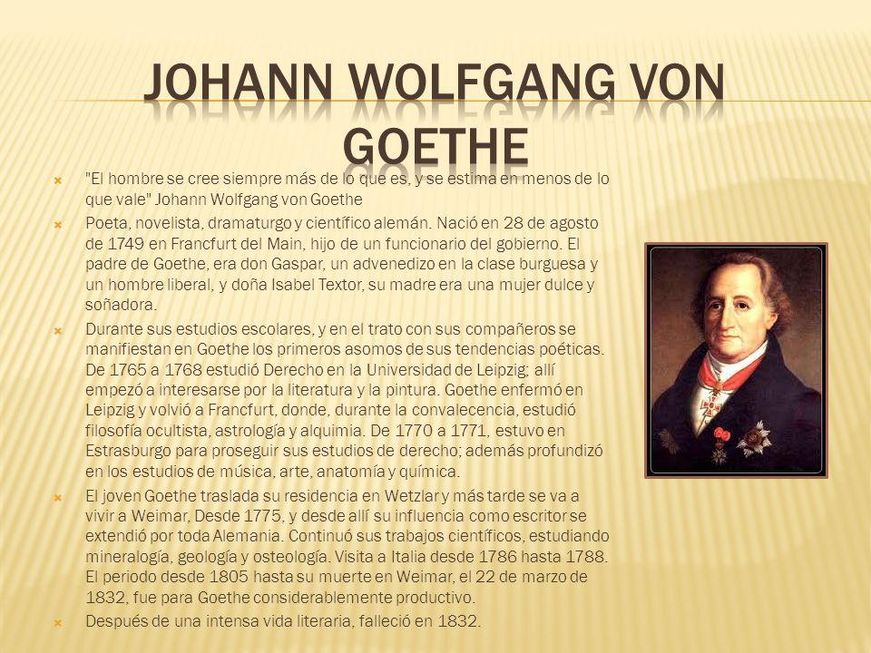 El hombre se cree siempre más de lo que es, y se estima en menos de lo que vale Johann Wolfgang von Goethe Poeta, novelista, dramaturgo y científico alemán.