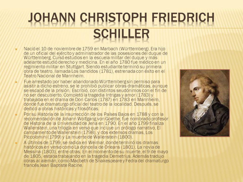 Nació el 10 de noviembre de 1759 en Marbach (Württemberg).