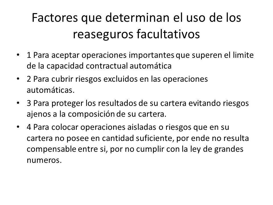 Factores que determinan el uso de los reaseguros facultativos 1 Para aceptar operaciones importantes que superen el limite de la capacidad contractual