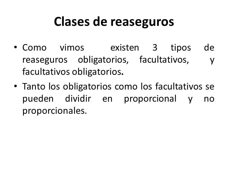 Clases de reaseguros Como vimos existen 3 tipos de reaseguros obligatorios, facultativos, y facultativos obligatorios. Tanto los obligatorios como los