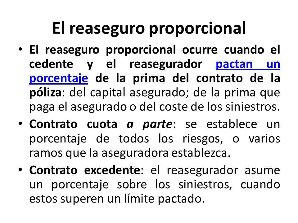 El reaseguro proporcional El reaseguro proporcional ocurre cuando el cedente y el reasegurador pactan un porcentaje de la prima del contrato de la pól