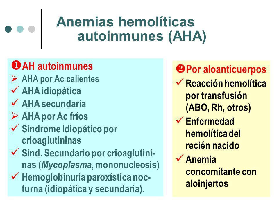 Anemias hemolíticas autoinmunes (AHA) Por aloanticuerpos Reacción hemolítica por transfusión (ABO, Rh, otros) Enfermedad hemolítica del recién nacido Anemia concomitante con aloinjertos AH autoinmunes AHA por Ac calientes AHA idiopática AHA secundaria AHA por Ac fríos Síndrome Idiopático por crioaglutininas Sind.