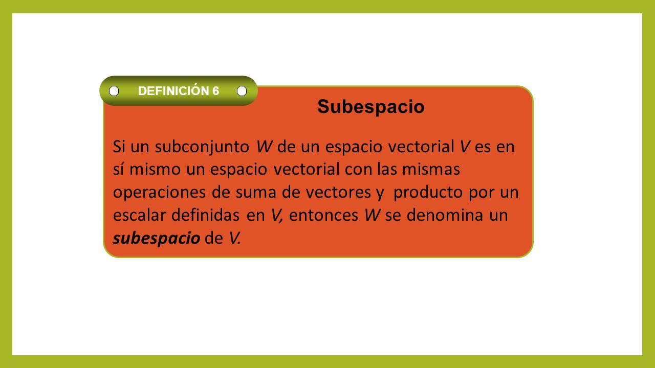 Si un subconjunto W de un espacio vectorial V es en sí mismo un espacio vectorial con las mismas operaciones de suma de vectores y producto por un esc