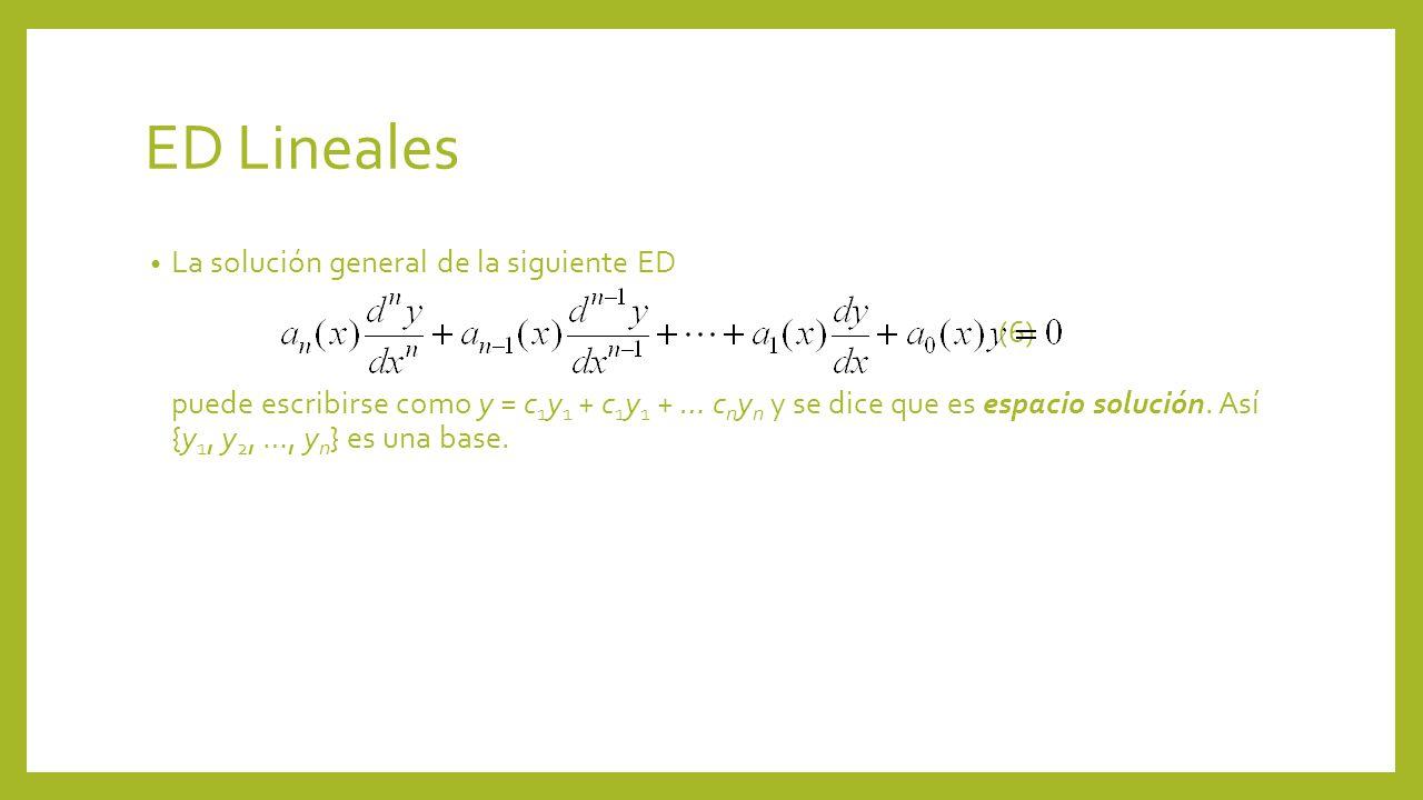 ED Lineales La solución general de la siguiente ED (6) puede escribirse como y = c 1 y 1 + c 1 y 1 + … c n y n y se dice que es espacio solución. Así