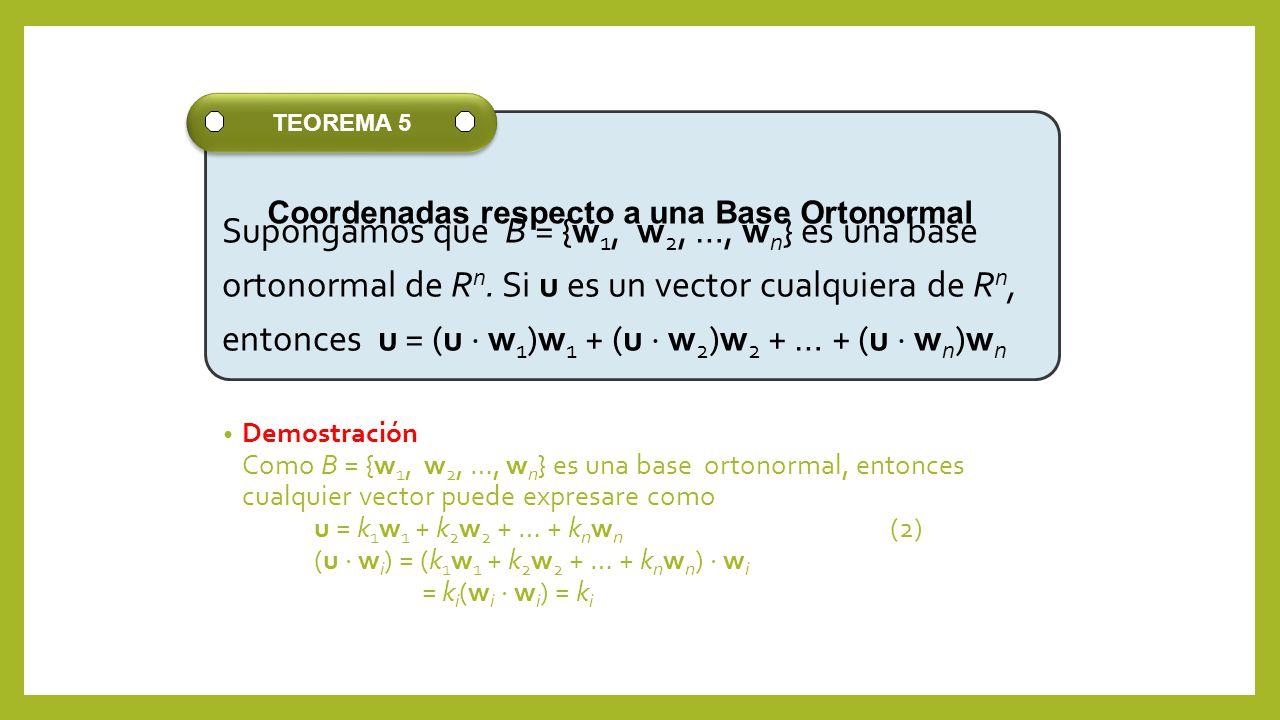 Demostración Como B = {w 1, w 2, …, w n } es una base ortonormal, entonces cualquier vector puede expresare como u = k 1 w 1 + k 2 w 2 + … + k n w n (