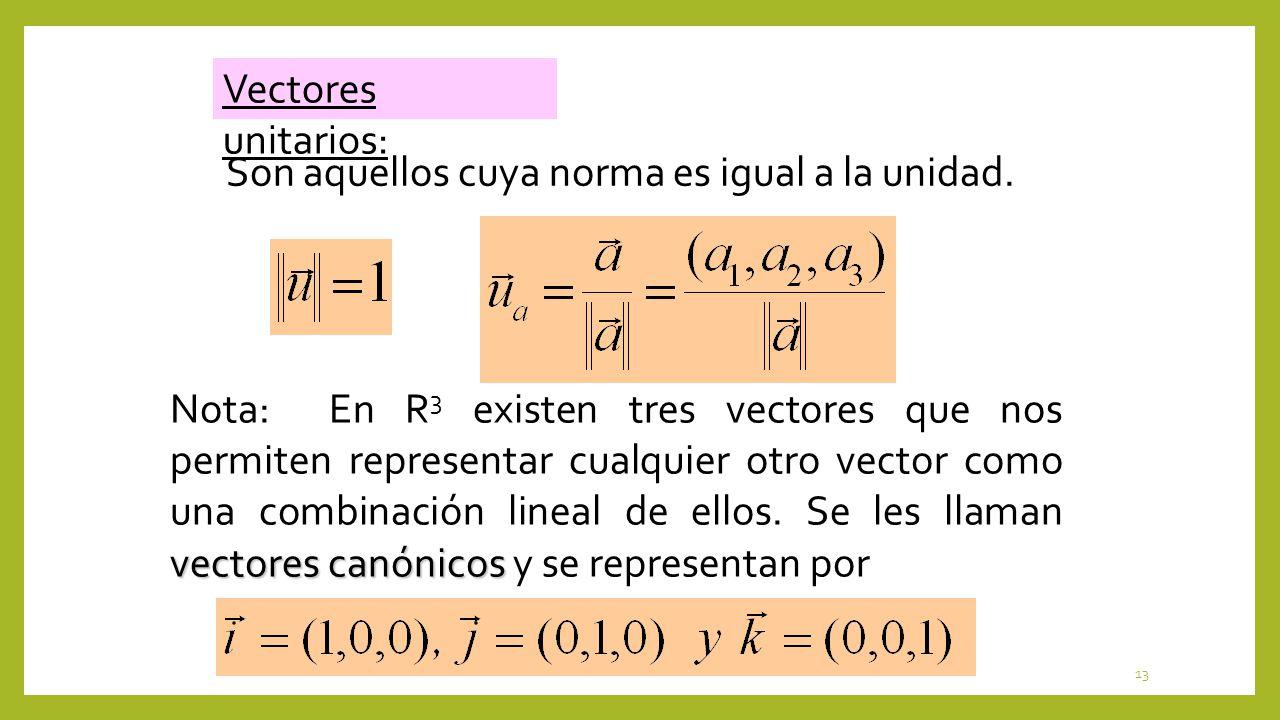 13 Vectores unitarios: Son aquellos cuya norma es igual a la unidad. vectores canónicos Nota: En R 3 existen tres vectores que nos permiten representa