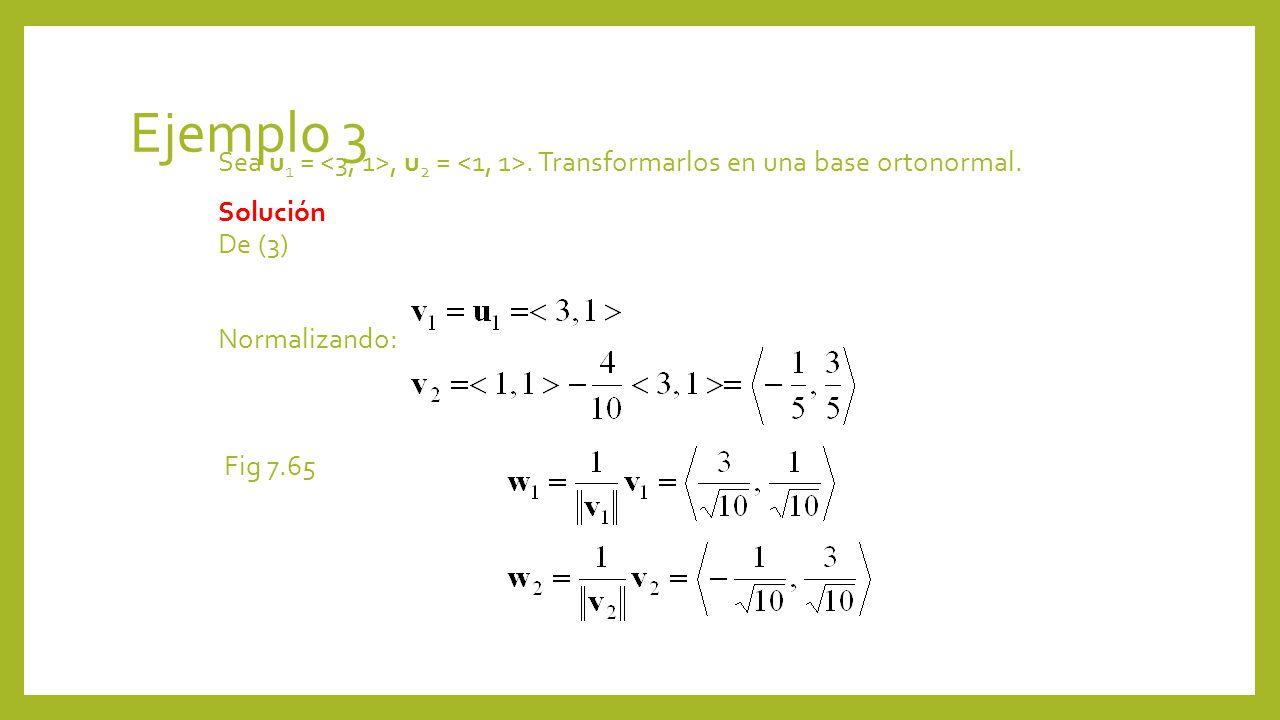 Ejemplo 3 Sea u 1 =, u 2 =. Transformarlos en una base ortonormal. Solución De (3) Normalizando: Fig 7.65