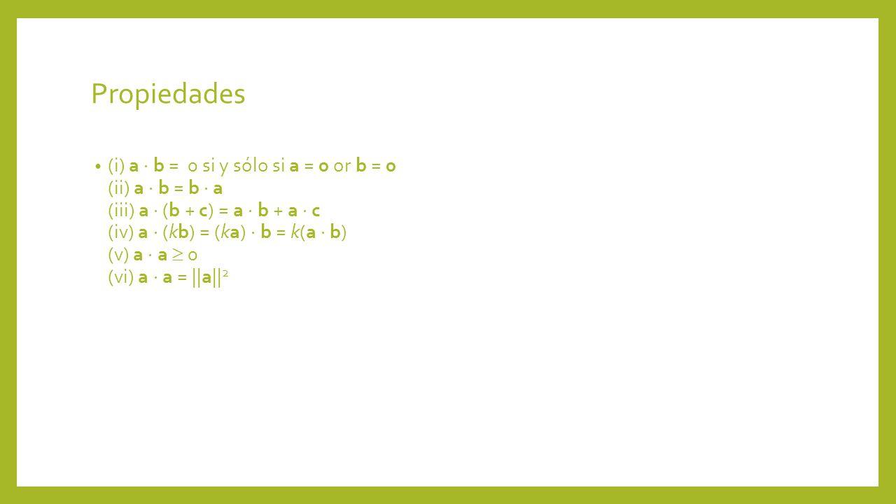 Propiedades (i) a b = 0 si y sólo si a = 0 or b = 0 (ii) a b = b a (iii) a (b + c) = a b + a c (iv) a (kb) = (ka) b = k(a b) (v) a a 0 (vi) a a = ||a|