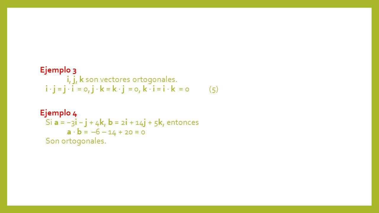 Ejemplo 3 i, j, k son vectores ortogonales. i j = j i = 0, j k = k j = 0, k i = i k = 0(5) Ejemplo 4 Si a = 3i j + 4k, b = 2i + 14j + 5k, entonces a b