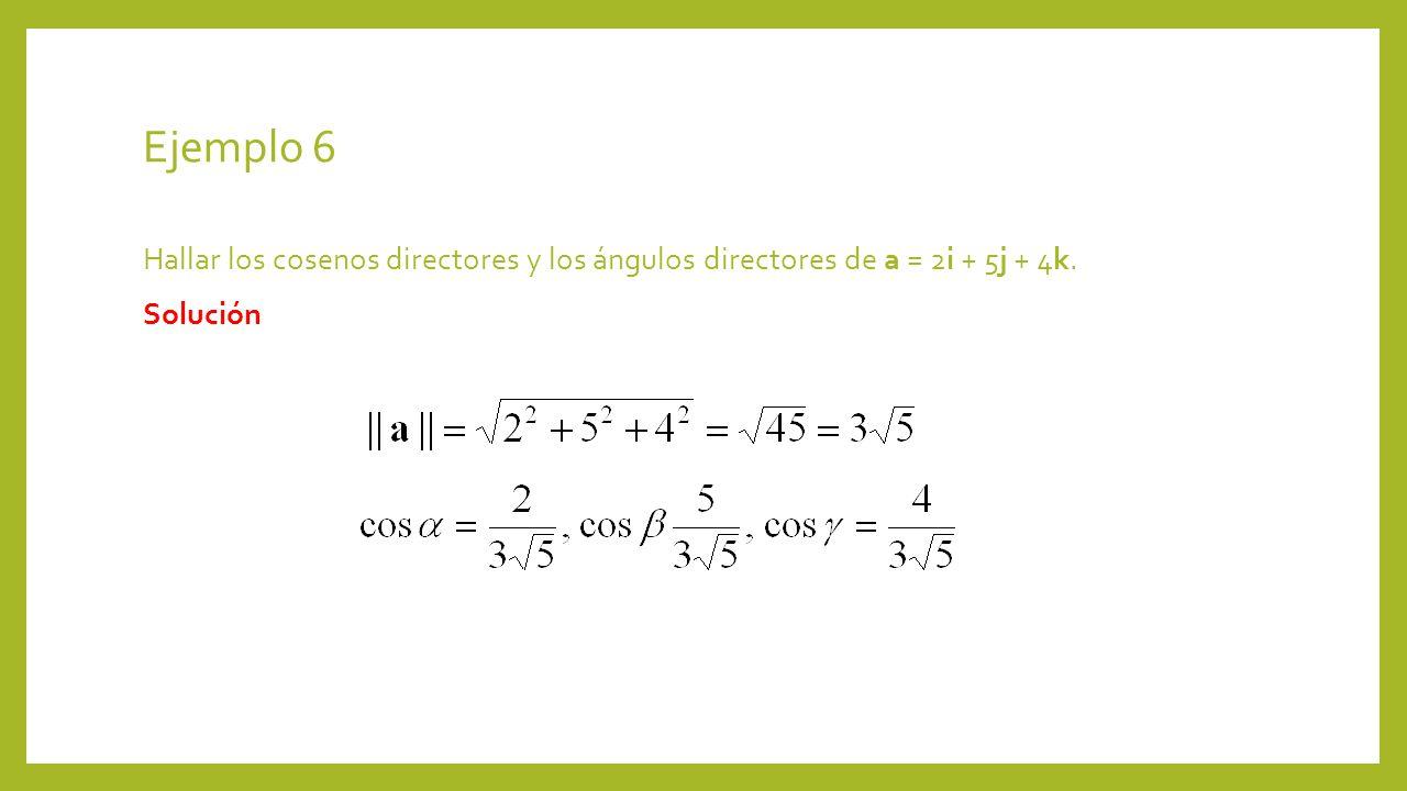 Ejemplo 6 Hallar los cosenos directores y los ángulos directores de a = 2i + 5j + 4k. Solución