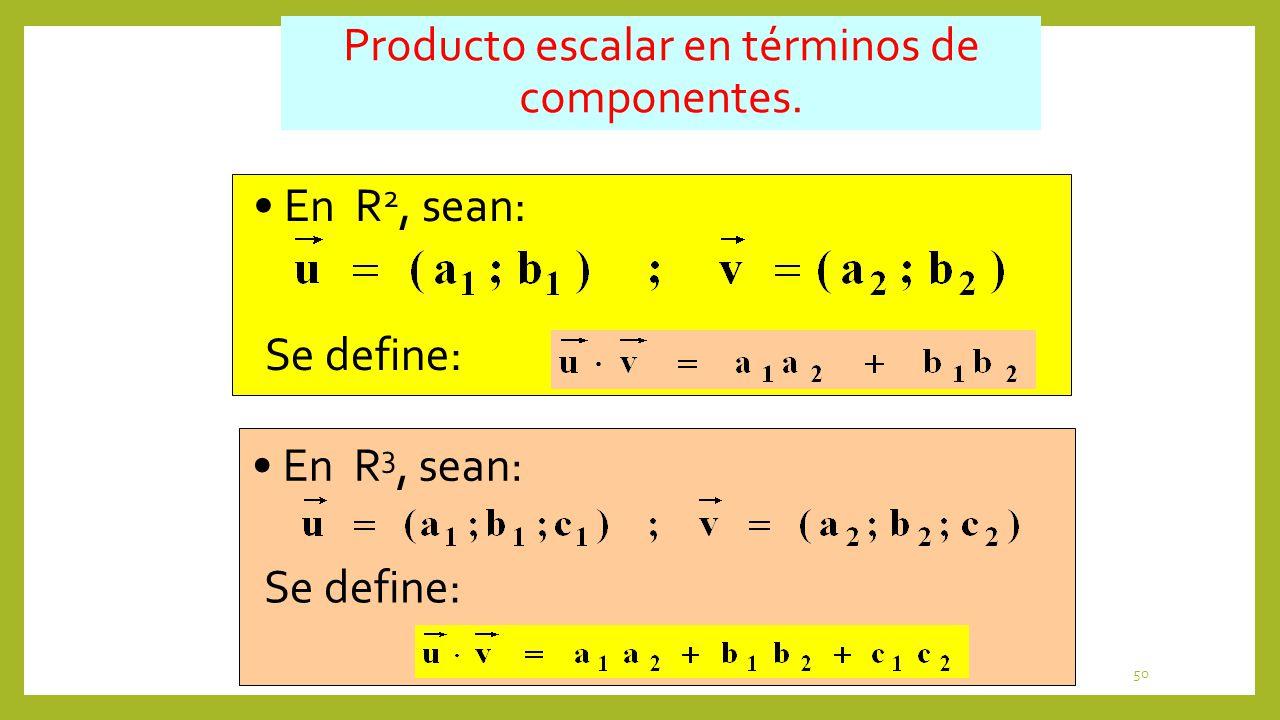 50 Producto escalar en términos de componentes. Se define: En R 2, sean: Se define: En R 3, sean: