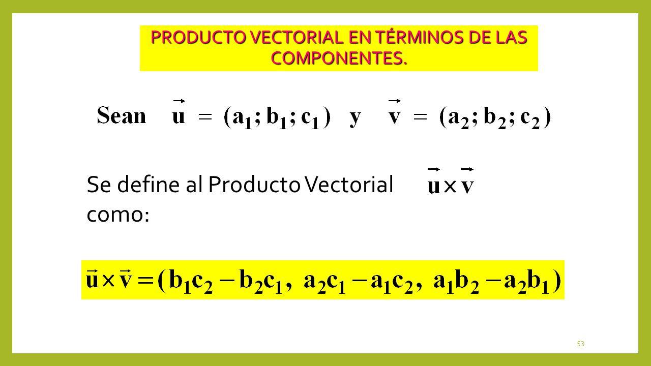 53 PRODUCTO VECTORIAL EN TÉRMINOS DE LAS COMPONENTES. Se define al Producto Vectorial como: