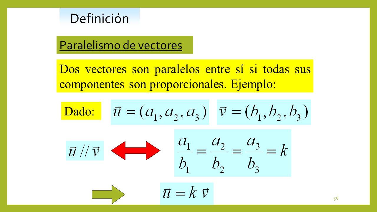 58 Paralelismo de vectores Dos vectores son paralelos entre sí si todas sus componentes son proporcionales. Ejemplo: Definición Dado: