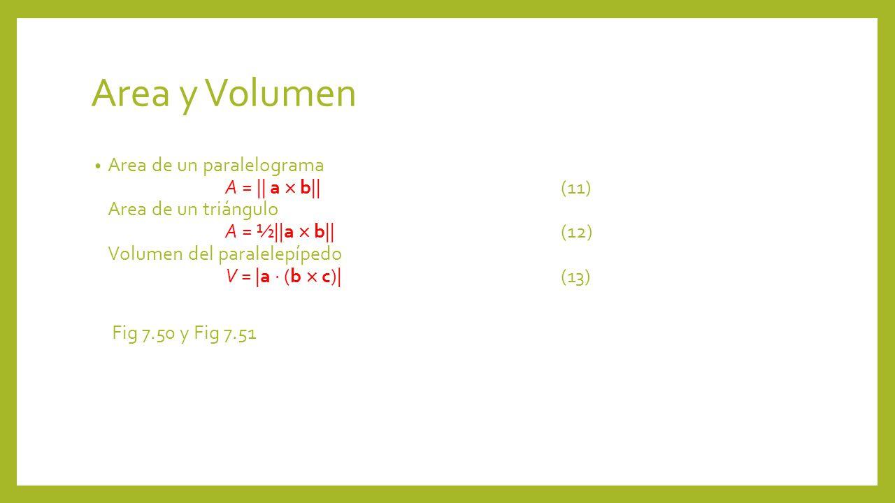 Area y Volumen Area de un paralelograma A = || a b||(11) Area de un triángulo A = ½||a b||(12) Volumen del paralelepípedo V = |a (b c)|(13) Fig 7.50 y