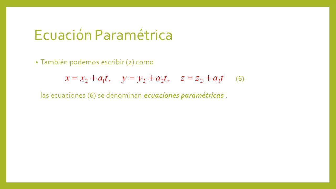Ecuación Paramétrica También podemos escribir (2) como (6) las ecuaciones (6) se denominan ecuaciones paramétricas.