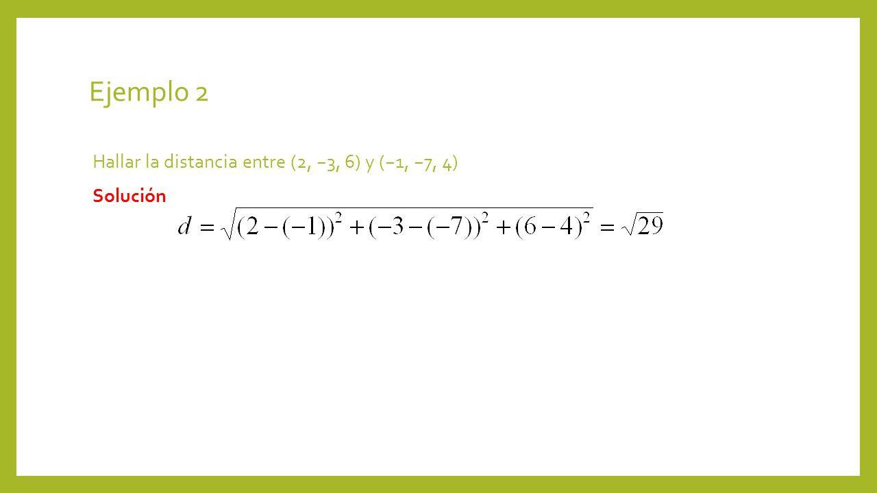 Ejemplo 2 Hallar la distancia entre (2, 3, 6) y (1, 7, 4) Solución