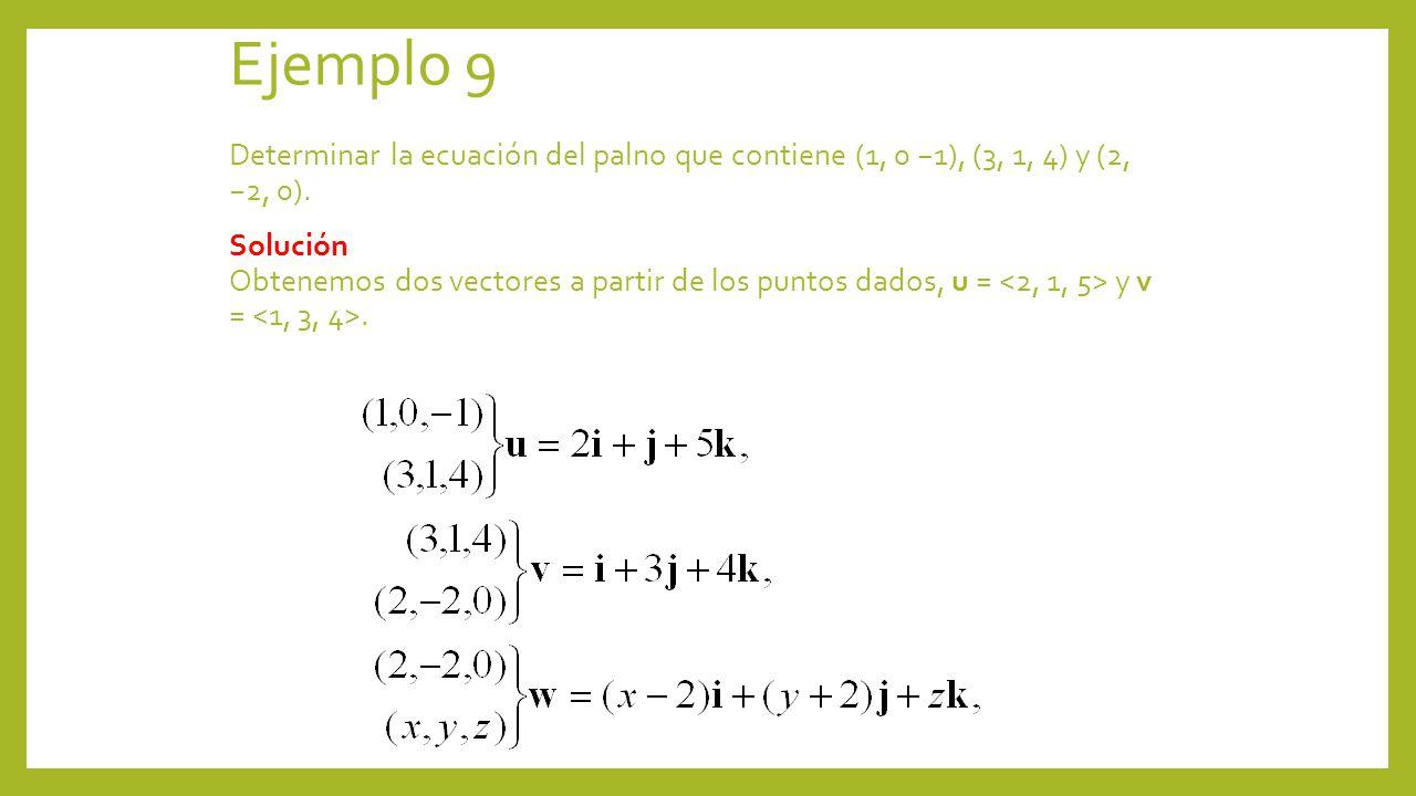 Ejemplo 9 Determinar la ecuación del palno que contiene (1, 0 1), (3, 1, 4) y (2, 2, 0). Solución Obtenemos dos vectores a partir de los puntos dados,