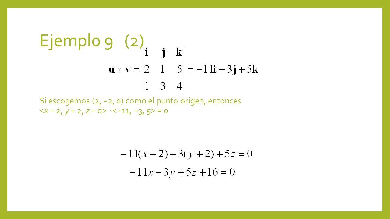 Ejemplo 9 (2) Si escogemos (2, 2, 0) como el punto origen, entonces = 0