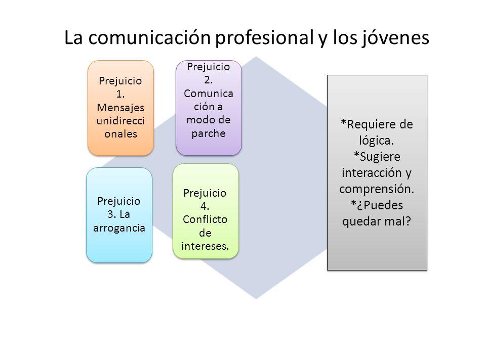 La comunicación profesional y los jóvenes Prejuicio 1. Mensajes unidirecci onales Prejuicio 2. Comunica ción a modo de parche Prejuicio 3. La arroganc