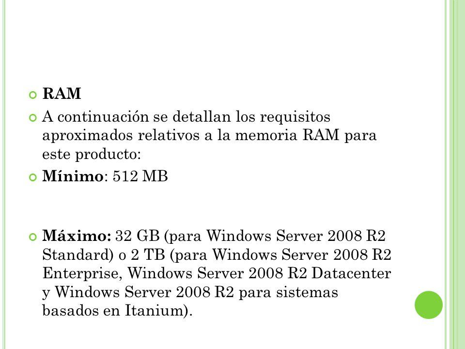 Requisitos de espacio en disco A continuación se detallan los requisitos mínimos de espacio en disco estimados para la partición del sistema.