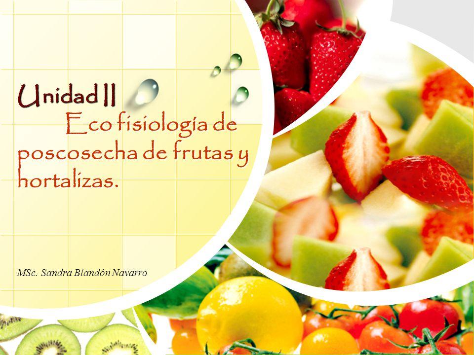 Unidad II Eco fisiología de poscosecha de frutas y hortalizas. MSc. Sandra Blandón Navarro