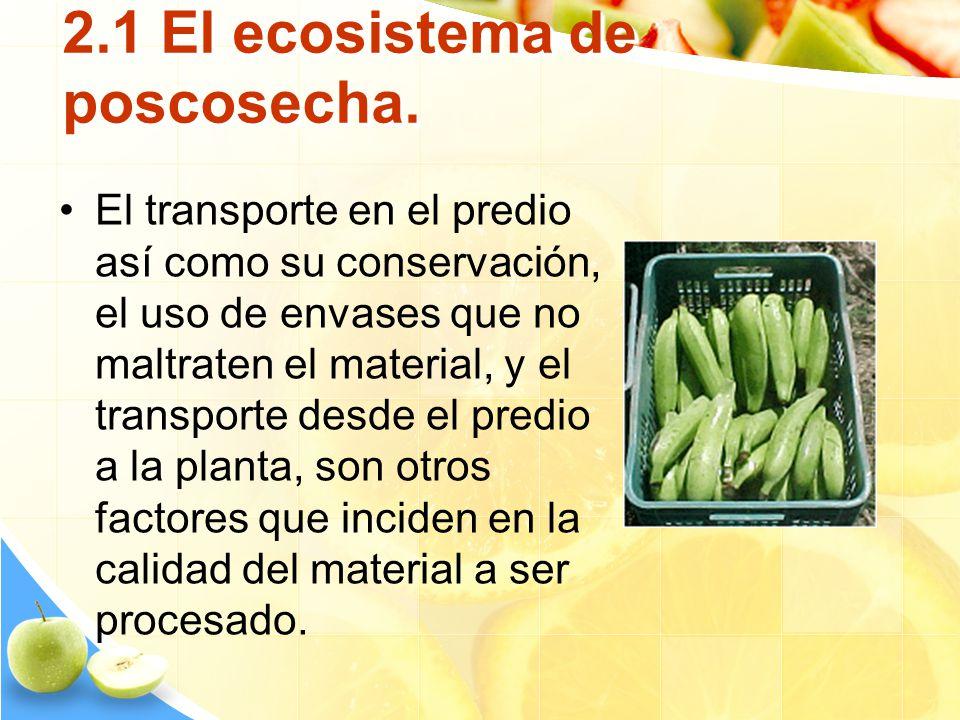 2.1 El ecosistema de poscosecha. El transporte en el predio así como su conservación, el uso de envases que no maltraten el material, y el transporte