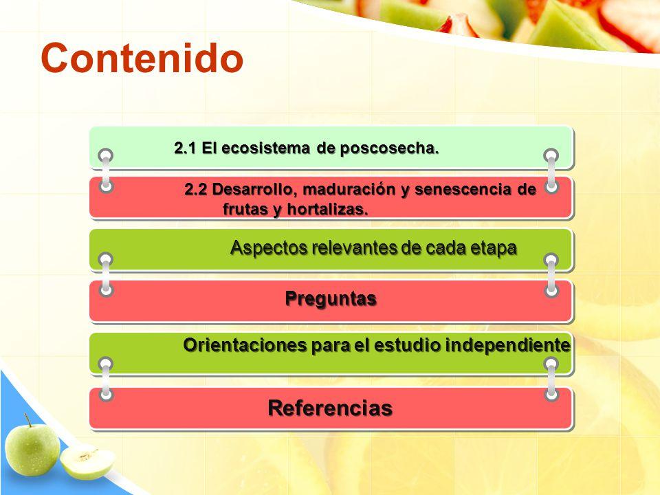 Contenido 2.1 El ecosistema de poscosecha. 2.2 Desarrollo, maduración y senescencia de frutas y hortalizas. Aspectos relevantes de cada etapa Pregunta