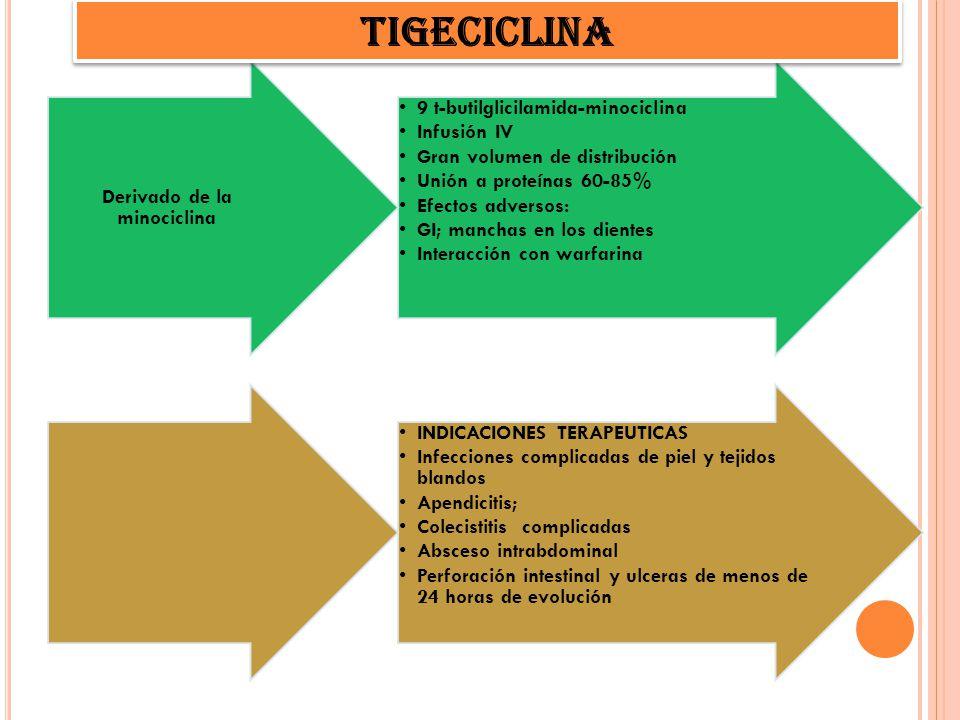 9 t-butilglicilamida-minociclina Infusión IV Gran volumen de distribución Unión a proteínas 60-85% Efectos adversos: GI; manchas en los dientes Intera