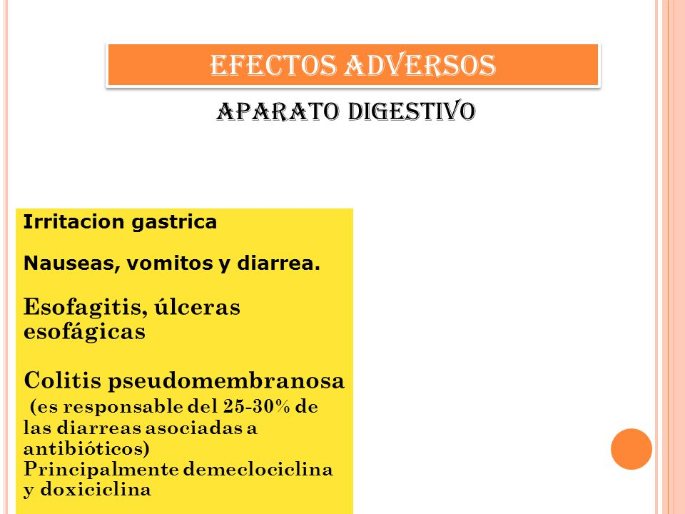 EFECTOS ADVERSOS Aparato digestivo Irritacion gastrica Nauseas, vomitos y diarrea. Esofagitis, úlceras esofágicas Colitis pseudomembranosa (es respons