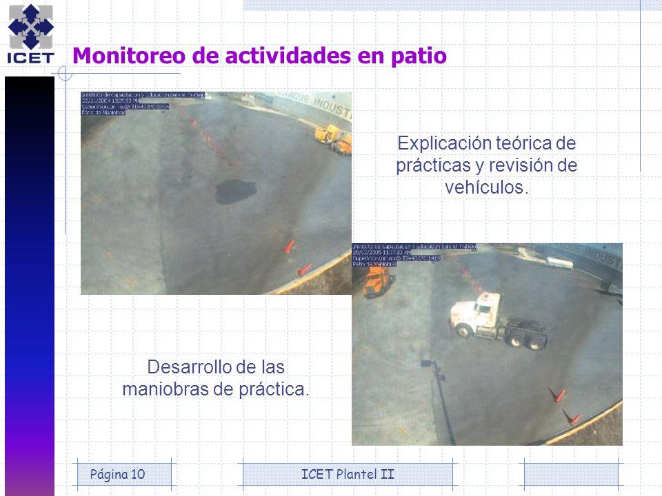 ICET Plantel IIPágina 10 Monitoreo de actividades en patio Desarrollo de las maniobras de práctica. Explicación teórica de prácticas y revisión de veh
