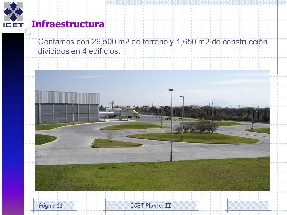 ICET Plantel IIPágina 12 Infraestructura Contamos con 26,500 m2 de terreno y 1,650 m2 de construcción divididos en 4 edificios.