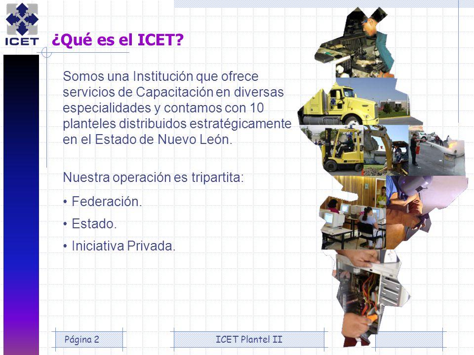 ICET Plantel IIPágina 2 ¿Qué es el ICET? Somos una Institución que ofrece servicios de Capacitación en diversas especialidades y contamos con 10 plant